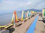 Parasols en ligbedden aan strand van Skala Kallonis